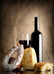 Wine and bread, sausage