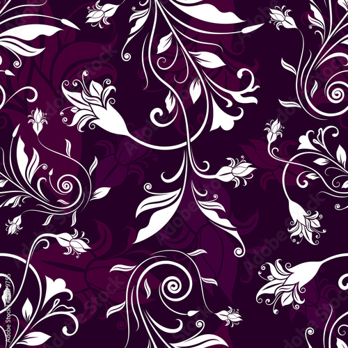 Seamless flowers retro vector pattern.