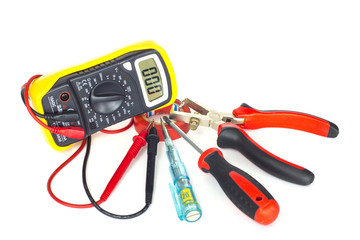 electrician tools on white background