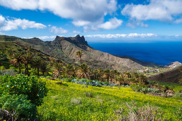 View mountain valley ocean clouds, La Gomera, Canary Islands