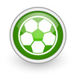 soccer green circle glossy web icon on white background