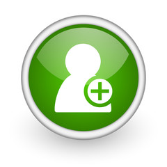 add contact green circle glossy web icon on white background