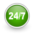 24/7 green circle glossy web icon on white background