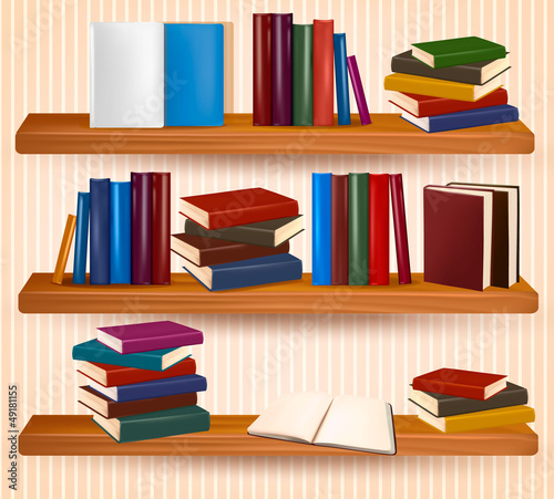 Bookshelf with colorful books and clock. Vector illustration.