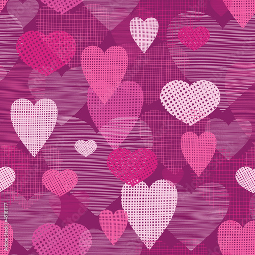 vector fabric hearts romantic seamless pattern background with