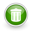 recycle green circle glossy web icon on white background