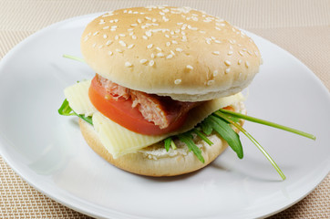 Sausage Cheese and Tomato Sandwich
