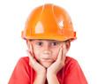 Little girl in a protective helmet