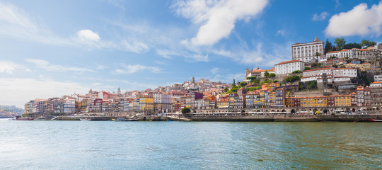 Panoramic of old Porto from Douro River, Portugal