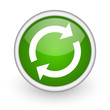 reload green circle glossy web icon on white background