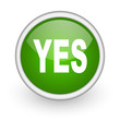 yes green circle glossy web icon on white background