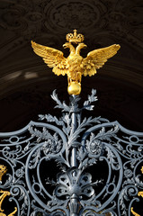 gold russian double-headed eagle on Hermitage gates