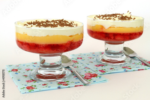 Strawberry trifle on white background