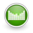 sound green circle glossy web icon on white background