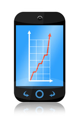 Smartphone with increasing business graph