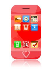 Pink smartphone with heart  to Valentines Day