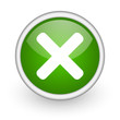 cancel green circle glossy web icon on white background