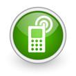 cellphone green circle glossy web icon on white background