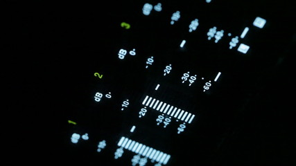 Macro shot of the broadcast video player equalizer