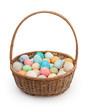 Easter basket isolated on white background with clipping path