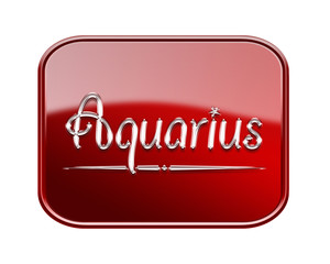 Aquarius zodiac icon red glossy, isolated on white background