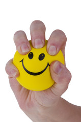 Squeezing stress ball