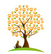 Cat , dog and footprint tree logo vector