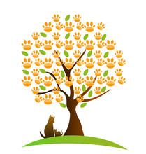 Drzewo, kot, pies i ślad vector logo