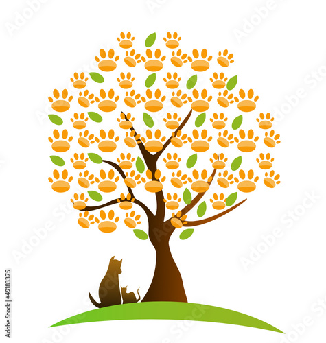 Cat , dog and footprint tree logo vector