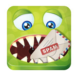 Cute spam-eater monster, iOS style design