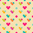 Geometrical hearts seamless pattern