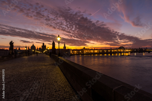 Prague, Charles Bridge at sunrise