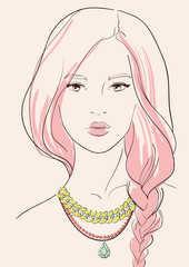 Beautiful woman in jewelry necklace vector illustration