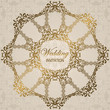 Stylish wedding invitation with round lace pattern