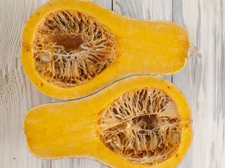 two halves of pumpkin