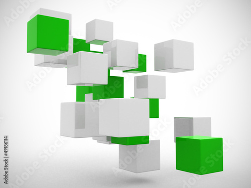 Abstract geometric shapes from cubes. This is a 3d render