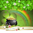Saint Patrick's Day greeting card with pot, coins and ribbon