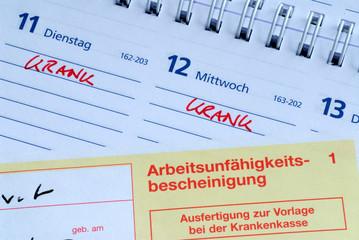 Arbeitsunfähigkeitsbescheinigung, krank, Kalender, Fehlzeiten