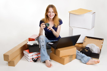 Woman buying online