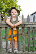 Happy boy on a wooden fence