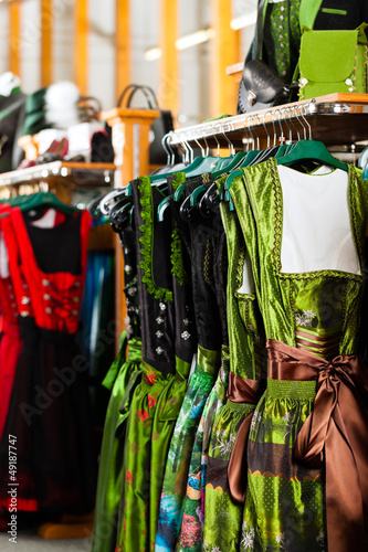 Traditional clothes - Tracht or dirndl in a shop