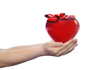 Conceptual 3D heart with a ribbon held in human hands