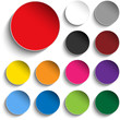 Set of Colorful Paper Circle Sticker Buttons - 49188360
