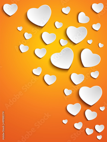 Valentine Day Heart on Yellow Background