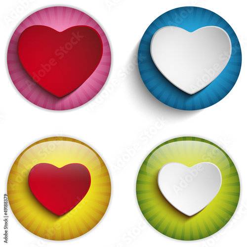 Valentine Day Heart on Colorful Glossy Buttons