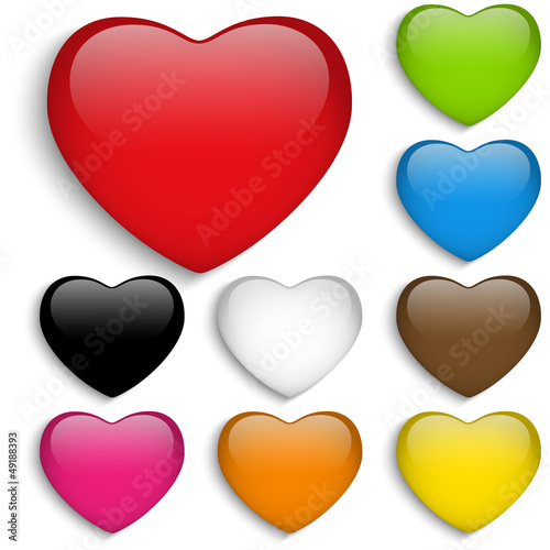 Set Glass Colorful Glossy Heart