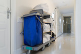 janitorial housekeeping cart in white hotel