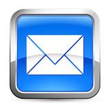 e-Mail - Button silber-blau