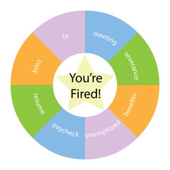 You're Fired circular concept with colors and star