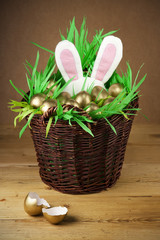 Easter basket, golden eggs.
